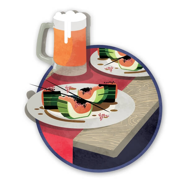 Food and beverages illustration for newspaper
