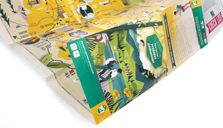 Illustrated tourist map for Pyrenees Ariegeoises Natural Park