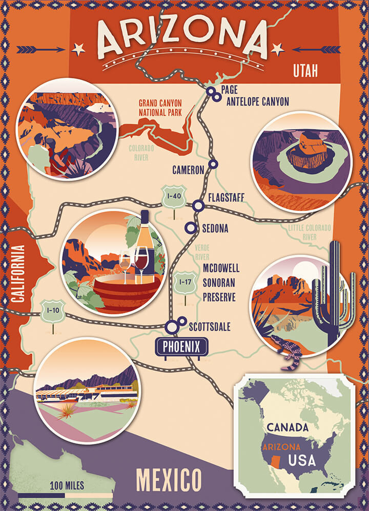 Illustrated map Lonely Planet Arizona