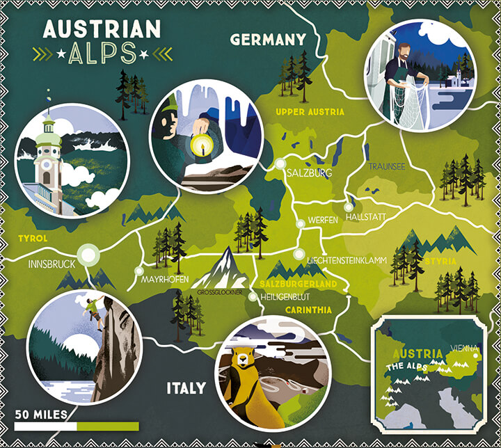 Illustrated map Lonely Planet Austrian Alps