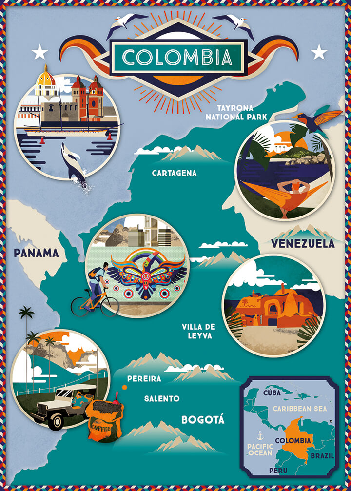Illustrated map Lonely Planet Colombia