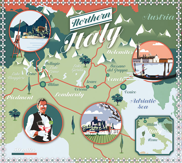 Illustrated map Lonely Planet Northern Italy