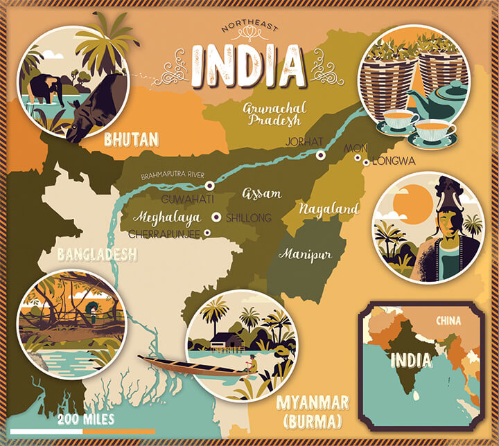 Illustrated map Lonely Planet India