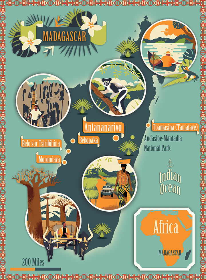 Illustrated map Lonely Planet Madagascar