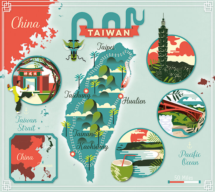 Illustrated map Lonely Planet Taiwan