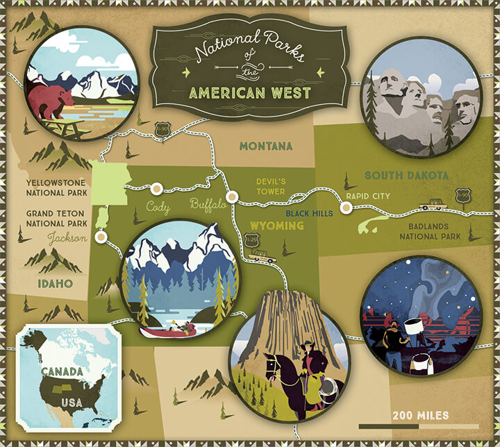 Illustrated map Lonely Planet American West National Parc