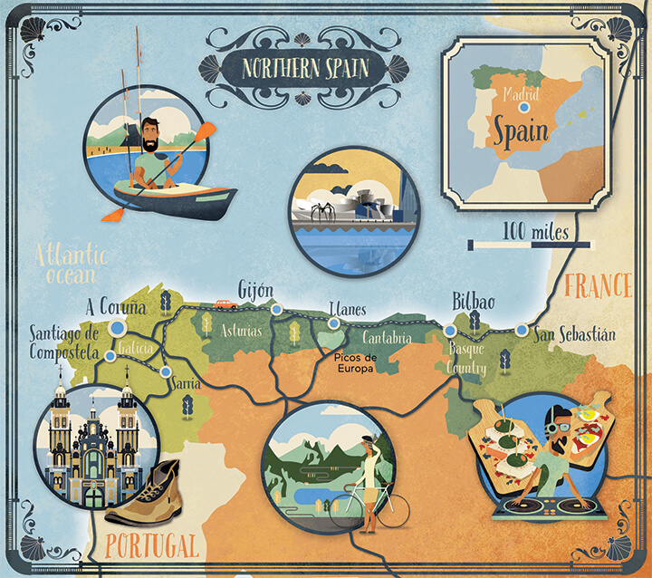 Illustrated map Lonely Planet Northern Spain